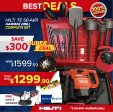 HILTI TE 50 AVR HAMMER DRILL, PREOWNED, FREE GRINDER, CORE BITS, FAST SHIP