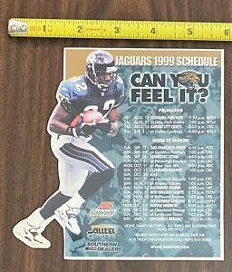 1999 NFL Jacksonville Jaguars Refrigerator Magnet Magnetic Full Season Schedule