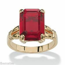 WOMENS 14K GOLD PLATED BIRTHSTONE RUBY EMERALD CUT RING  SIZE 5 6 7 8 9 10
