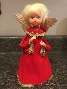 """Vintage Blonde Angel Paper Cone Style Tree Topper Japan Red Gold Dress    7 1/2"""""""