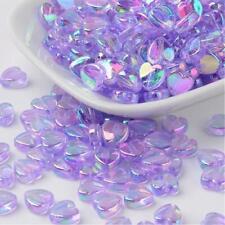 100 Purple AB Rainbow Shimmer Heart Beads - Acrylic - 8mm - Pearl Lustre P00216w