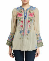 Johnny Was Millie Blouse Top Flower Embroidery Floral Beige GRI Long Small NEW