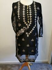 Ladies Indian Kurti Pakistani Kurta black formal dress tilla long gold organza