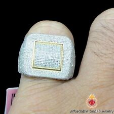 Yellow Gold Over 3.00 CT Men's Round Diamond Engagement Ring Wedding Pinky Band