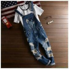 Mens Ripped Holes Trousers Suspenders Summer Slim Fit Pant Overalls Jeans US L