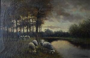A Shepherd with Grazing Sheep Antique Oil Painting H Hermans c1900 German School