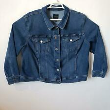 Lane Bryant Jean Jacket Size 24 Blue Denim Coat Flap Pockets Stretch Button