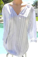 03a71c8a838 Victorias Secret coverup sleep shirt white cotton ramie gauze long sleeve  blue L