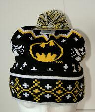 DC Comics Pom-Pom Batman Snowflake Sweater Look Knit Cap Hat New 2016