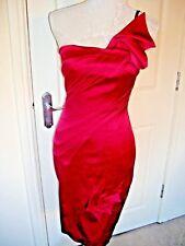 KAREN MILLEN HOT PINK PLEAT ONE SHOULDER STRETCH SATIN DRESS UK 8-10 SUPERB