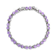Round Purple Amethyst Crystal Tennis Bracelet White Gold Plated Extended Clasp