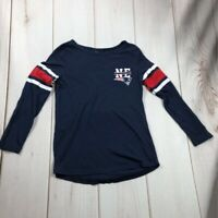 New England Patriots NFL Womens T-Shirt Navy Blue Red Scoop Neck Long Sleeve S