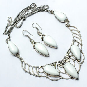 """White Coral Set, White Coral Set Handmade Ethnic Style Jewelry Necklace 18"""" UL"""