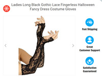 Ladies Long Black Gothic Lace Fingerless Halloween Fancy Dress Costume Gloves UK