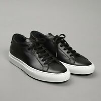 COMMON PROJECTS ORIGINAL ACHILLES LOW BLACK LEATHER WHITE SNEAKERS 43 (NEW&AUTH)