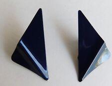 """Estate Vintage Navy Blue Enamel Art Deco Triangle Clip On Earrings 1 1/2"""" x 1"""""""