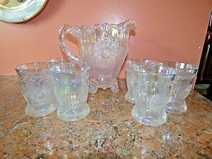 Vintage Westmoreland White Carnival GLass Dahlia Water Pitcher 6 Glasses Tumbler