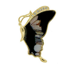 GORGEOUS 18K GOLD PLATED CLEAR CRYSTAL BLACK AND PINK ENAMEL BUTTERFLY BR0OCH.
