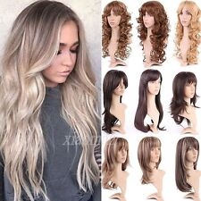 Thick Straight Curly Long Wigs Ombre Hair Cosplay Party with Fringe Bangs Wig #M