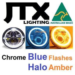 "Blue 7"" Chrome Lights Austin Healey Sprite A30 Bugeye Frogeye 3000 Mk1 Mk2 100"