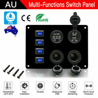 4 Gang 12V Switch Panel ON-OFF Toggle Rocker USB Charger Car Boat Truck Marine