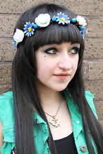 BLUE ROSE DAISY ROSE STUDDED FLOWER CROWN HIPPY PASTEL FESTIVAL GRUNGE HEAD BAND
