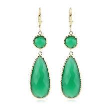 14K Yellow Gold Gemstone Earrings With Dangling Green Onyx