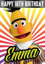 Personalised Bert Sesame street children's TV  - Birthday Greeting Card A5