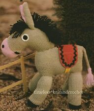 VINTAGE TOY KNITTING PATTERN FOR AN ADORABLE DONKEY - EASY