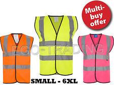 Orange Yellow Pink High Viz Hi Vis Visibility Work Wear Safety Jacket Vest EN471