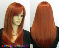 New Wine Red / Burgundy Mix Long Straight women Wig + free wig cap A110