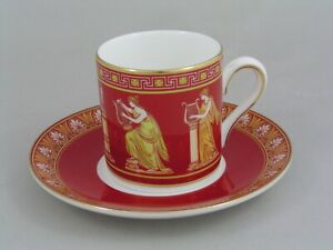 WEDGWOOD RED MUSICAL MUSES ESPRESSO COFFEE CUP/CAN AND SAUCER.