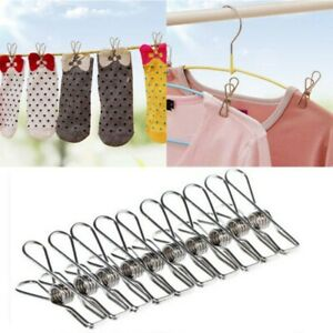 20xStainless Steel Metal Clothes Pegs Laundry Windproof Clamp Hanging Clips Tool