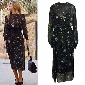 Zara Zodiac Constellation Astrology Sun Moon Stars Cosmic Midi Dress XS 6/8 UK