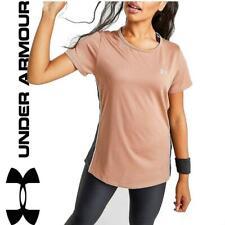 New Under Armour Womens Colour Block UA Tech T-Shirt top Bronze gym sports
