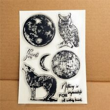 World Globe Moon Earth animal sentiment Clear Rubber Stamps Seal Silicone Cards