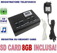 REGISTRATORE TELEFONICO DIGITALE SCHEDA SD 8GB INCLUSA SPIA RETE FISSA CW51