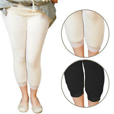 Opaque Thick Soft Knit Legging Warmer Winter Footless Tight Lace Trim 2 Colors