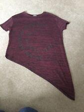 Girls Burgundy T-Shirt Top, River Island, Size 9/10yrs. VGC.