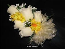 SILK IVORY ROSES with YELLOW CORSAGE for the BIG day
