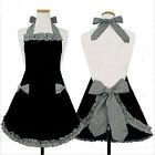 Cute Lovely Women Princess Apron Dress Ruffled Bowknots Kitchen Uniforms Cosplay