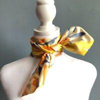"44"" Oblong Orange Yellow Blue Tulip Floral Handpainted Scarf Silk?"