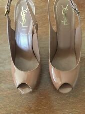 YSL Shoes 38 Patent Soft Light Clay Color