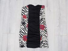 Motel Dress Bandeau Floral Rose Zebra Print Black Size M Topshop Mini Bodycon