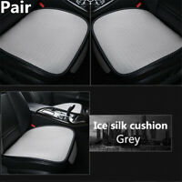 Pair Grey Front Seat Cover Protector Pad mat All seasons Fit Ice Silk Universal