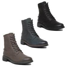 Josef Seibel Selena 06 Para Mujer De Cuero Botas Militares En Negro Tamaños UK 3 - 7