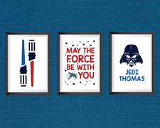 Star Wars | Home Decor bedroom A4 Prints (x3) personalised | Multicoloured blue