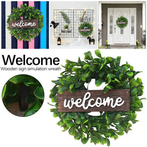 Welcome Wreaths Door Wood Hanging Artificial Boxwood Farmhouse Porch Decor