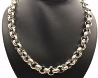 Heavy Vintage Oxidized Sterling Silver Rolo Link Chain Floral Huge Chunky Chain