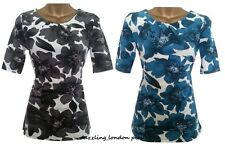 NEXT STYLISH SUMMER FLORAL PLEAT TUNIC TOP BLOUSE T-SHIRT PETROL & BLACK  8-18